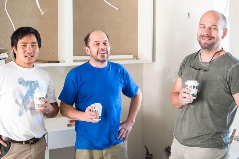 Team Tischler Kleber bei der Kaffeepause